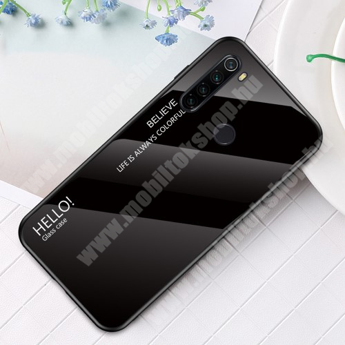 GLASS CASE műanyag védő tok / hátlap védő edzett üveg - FEKETE - szilikon szegély - Xiaomi Redmi Note 8T