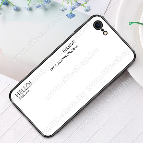 GLASS CASE műanyag védő tok / hátlap védő edzett üveg - FEHÉR - szilikon szegély - APPLE iPhone SE (2020) / APPLE iPhone 7 / APPLE iPhone 8