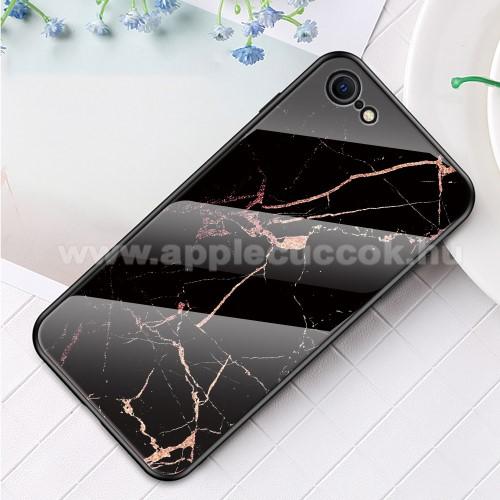 GLASS CASE műanyag védő tok / hátlap védő edzett üveg - FEKETE / ARANY MÁRVÁNY MINTÁS - szilikon szegély - APPLE iPhone SE (2020) / APPLE iPhone 7 / APPLE iPhone 8