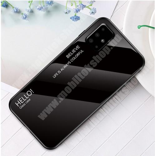 GLASS CASE műanyag védő tok / hátlap védő edzett üveg - FEKETE - szilikon szegély - SAMSUNG SM-A715F Galaxy A71