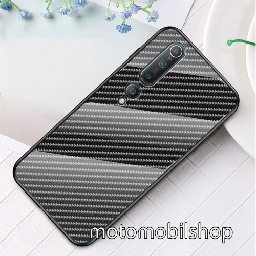 GLASS CASE műanyag védő tok / hátlap védő edzett üveg - KARBON MINTÁS - szilikon szegély - Xiaomi Mi 10 5G / Xiaomi Mi 10 Pro 5G
