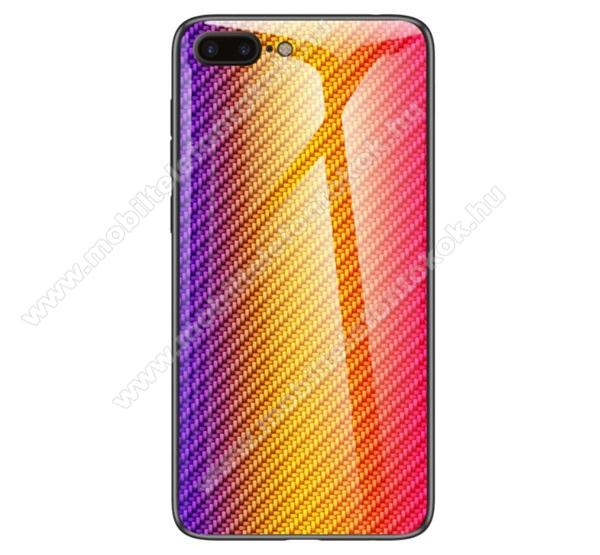 GLASS CASE műanyag védő tok / hátlap védő edzett üveg - ARANY - KARBON MINTÁS - szilikon szegély - APPLE iPhone 7 Plus (5.5) / APPLE iPhone 8 Plus (5.5)