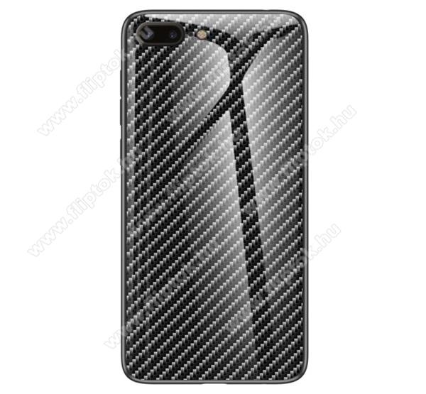 GLASS CASE műanyag védő tok / hátlap védő edzett üveg - FEKETE - KARBON MINTÁS - szilikon szegély - APPLE iPhone 7 Plus (5.5) / APPLE iPhone 8 Plus (5.5)
