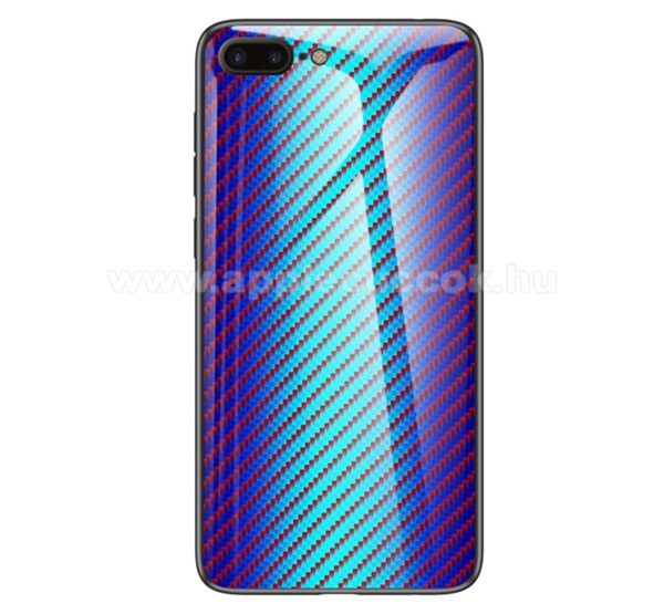 GLASS CASE műanyag védő tok / hátlap védő edzett üveg - KÉK - KARBON MINTÁS - szilikon szegély - APPLE iPhone 7 Plus (5.5) / APPLE iPhone 8 Plus (5.5)