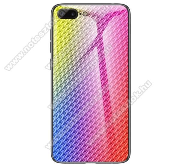 GLASS CASE műanyag védő tok / hátlap védő edzett üveg - SZÍNES - KARBON MINTÁS - szilikon szegély - APPLE iPhone 7 Plus (5.5) / APPLE iPhone 8 Plus (5.5)