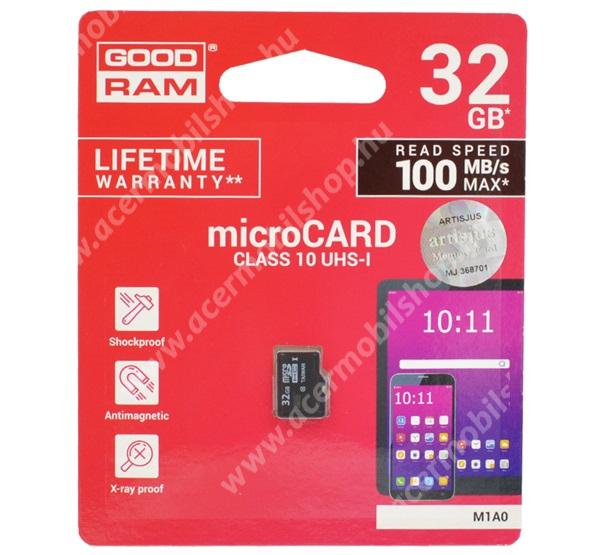 ACER Liquid Z3 GOODRAM MEMÓRIAKÁRTYA TransFlash 32GB - microSDHC - Class 10, UHS-1, S1A0-0320R11 utódja - M1A0-0320R12 -GYÁRI