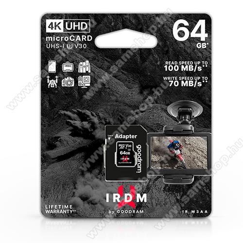 GOODRAM microSDXC™ UHS-1 U3 V30 64GB memóriakártya 100/70 - 4K UHD + SD adapter, akár 100 MB/s olvasási sebesség, akár 70 MB/s írási sebesség - GYÁRI