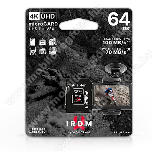 DJI Mavic ProGOODRAM microSDXC™ UHS-1 U3 V30 64GB memóriakártya 100/70 - 4K UHD + SD adapter, akár 100 MB/s olvasási sebesség, akár 70 MB/s írási sebesség - GYÁRI