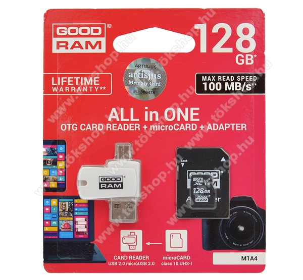 GOODRAM/TOSHIBA All In One memóriakártya TransFlash 128GB - microSDHC EVO - Class 10, UHS-1 + SD adapter + OTG USB kártyaolvasó - M1A4-1280R12 -GYÁRI