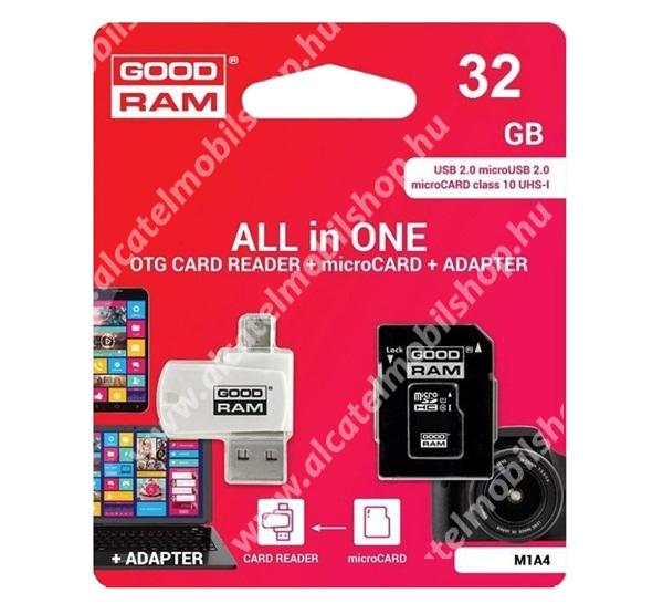 GOODRAM/TOSHIBA All In One memóriakártya TransFlash 32GB - microSDHC EVO - Class 10, UHS-1 + SD adapter + OTG USB kártyaolvasó - M1A4-0320R12 -GYÁRI