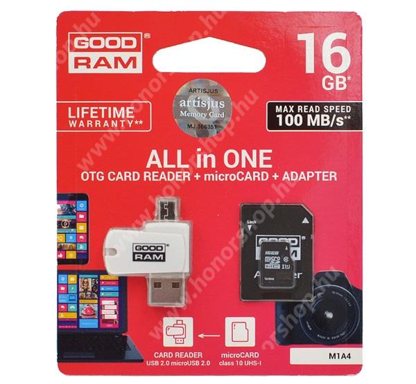 HUAWEI Honor 3C 4G GOODRAM/TOSHIBA All In One memóriakártya TransFlash 16GB - microSDHC EVO - Class 10, UHS-1 + SD adapter + OTG USB kártyaolvasó - M1A4-0160R12 - GYÁRI
