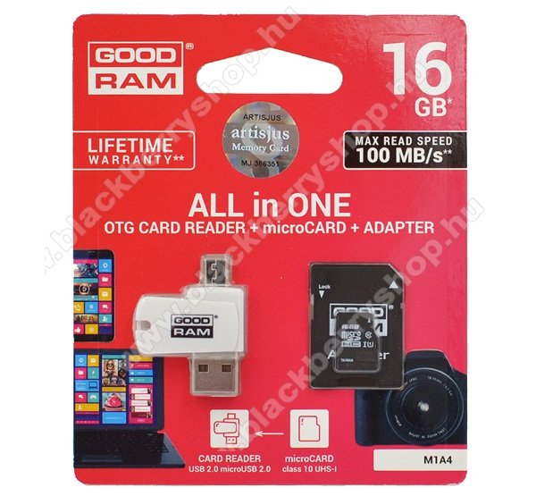 GOODRAM/TOSHIBA All In One memóriakártya TransFlash 16GB - microSDHC EVO - Class 10, UHS-1 + SD adapter + OTG USB kártyaolvasó - M1A4-0160R12 - GYÁRI