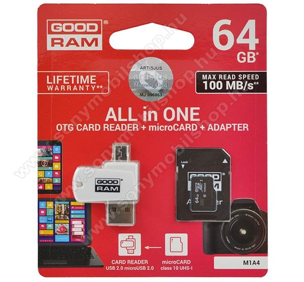 GOODRAM/TOSHIBA All In One memóriakártya TransFlash 64GB - microSDXC EVO - Class 10, UHS-1 + SD adapter + OTG USB kártyaolvasó - M1A4-0640R12 - GYÁRI