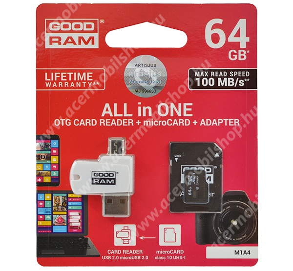 GOODRAM/TOSHIBA All In One memóriakártya TransFlash 64GB - microSDXC EVO - Class 10, UHS-1 + SD adapter + OTG USB kártyaolvasó - M1A4-0640R12 - GYÁRI