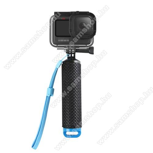 GoPro Hero 9 / 8 / 7 / 6 / 5 / 4 / 3 / 3 Plus / Plus / MAX / Fusion selfie bot / vízhatlan / vízálló tok - állítható csuklópánt, rejtett tároló, 180 x 40mm - FEKETE / KÉK
