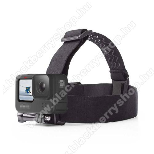 GoPro Hero 9 / 8 / 7 / 6 / 5 / 4 / 3 / 3 Plus / Plus / MAX / Fusion fejre rögzíthető tartó - állítható fejpánt, csúszásgátló, 220 x 170mm - FEKETE