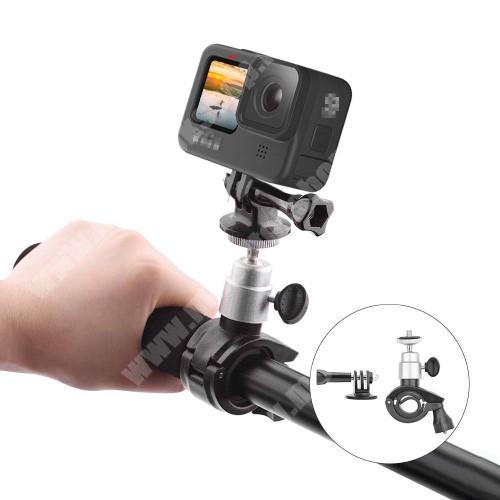 """GoPro Hero 9 / 8 / 7 / 6 / 5 / 4 / 3 / 3 Plus / Plus / MAX / Fusion kerékpár / motoros kormányra rögzíthető tartó - FEKETE - 1/4""""-os rögzítő univerzális csavarral, 360°-ban elforgatható, 120 x 70 x 26mm"""