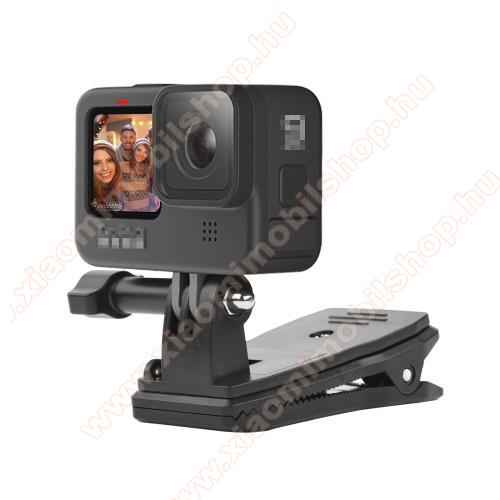 GoPro Hero 9 / 8 / 7 / 6 / 5 / 4 / 3 / 3 Plus / Plus / MAX / Fusion csipeszes rögzíthető tartó - 360°-ban forgatható, 95 x 55 x 45mm - FEKETE