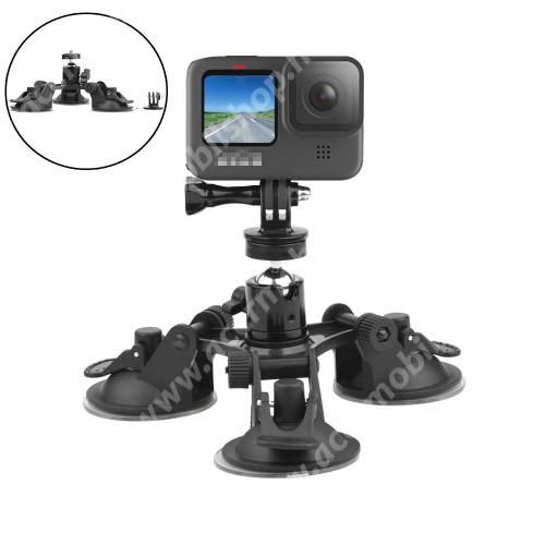 """GoPro Hero 9 / 8 / 7 / 6 / 5 / 4 / 3 / 3 Plus / Plus / MAX / Fusion gépkocsi / autós tartó -  1/4""""-os rögzítő univerzális csavarral, 3x tapadókorongos szélvédőre helyezhető, 360°-ban forgatható - FEKETE"""
