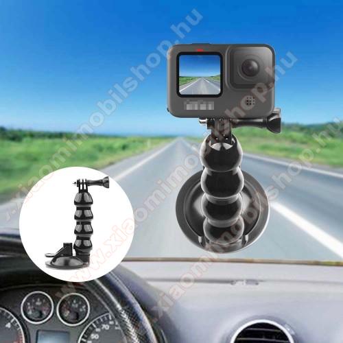 GoPro Hero 9 / 8 / 7 / 6 / 5 / 4 / 3 / 3 Plus / Plus / MAX / Fusion gépkocsi / autós tartó - tapadókorongos szélvédőre helyezhető, 360°-ban forgatható - FEKETE