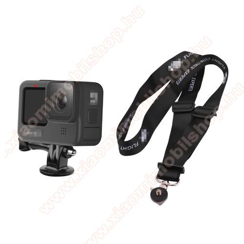 GoPro Hero 9 / 8 / 7 / 6 / 5 / 4 / 3 / 3 Plus / Plus / MAX / Fusion - gyorskioldó csat, állítható 60cm ~ 38cm - FEKETE