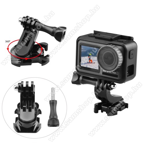 GoPro Hero 9 / 8 / 7 / 6 / 5 / 4 / 3 / 3 Plus / Plus / MAX / Fusion függőleges felületre rögzíthető tartó - 360°-ban forgatható, 4 6 x 30 x 45mm - FEKETE