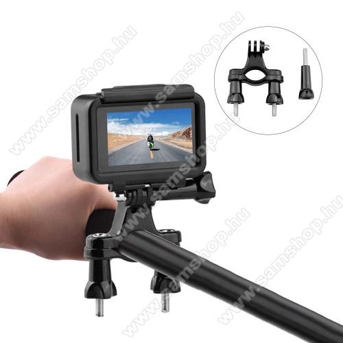 GoPro Hero 9 / 8 / 7 / 6 / 5 / 4 / 3 / 3 Plus / Plus / MAX / Fusion kerékpár / motoros kormányra rögzíthető tartó - FEKETE - csúszásgátló, 360°-ban elforgatható, 82 x 60 x 15 mm