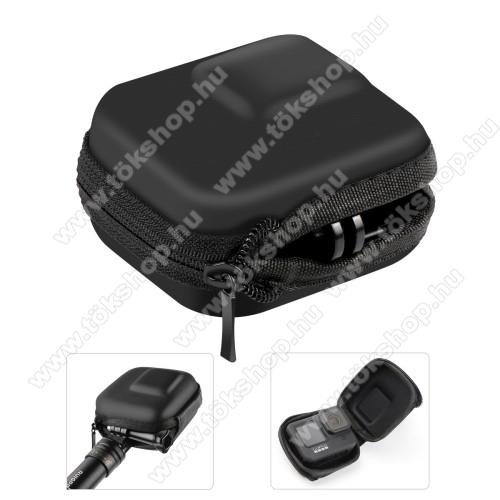 GoPro Hero 9 / 8 / 7 / 6 / 5 / 4-hez tartó / hordozó táska - ütődésálló, félig nyitott cipzáros, EVA habszivacs, vízálló, 90 x 65 x 50mm - ERŐS VÉDELEM! - FEKETE