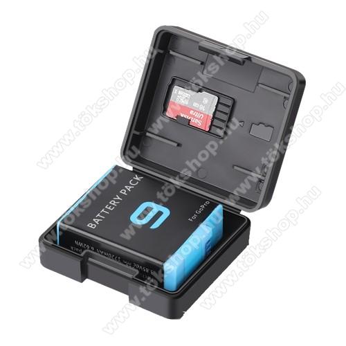 GoPro Hero 9 Black / 8 Black / 7 Black / 6 akkumulátor tartó / tároló doboz - műanyag, memóriakártyatartó - FEKETE