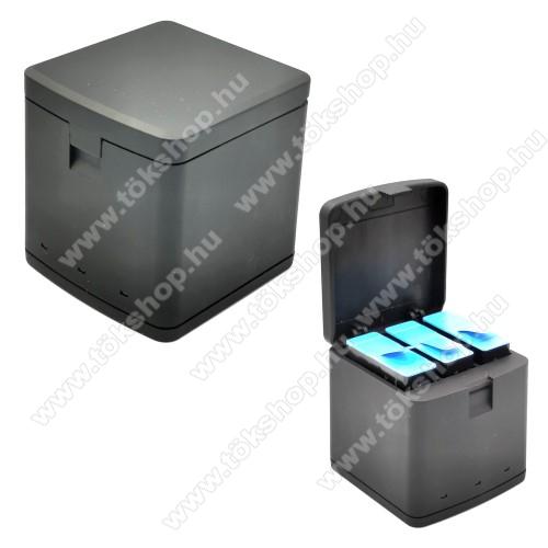 GoPro Hero 9 Black akkumulátor töltő - egyszerre akár 3 akkumulátor is tölthető vele, műanyag, töltésjelző LED, bemenet: 5V/2A, kimenet: 4.4V 700mA x3 - FEKETE