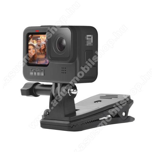 GoPro Hero 9-hez csipeszes rögzíthető tartó - 360°-ban forgatható, 95 x 55 x 45mm - FEKETE