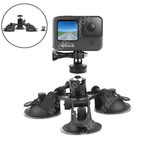 """GoPro Hero 9-hez gépkocsi / autós tartó -  1/4""""-os rögzítő univerzális csavarral, 3x tapadókorongos szélvédőre helyezhető, 360°-ban forgatható - FEKETE"""