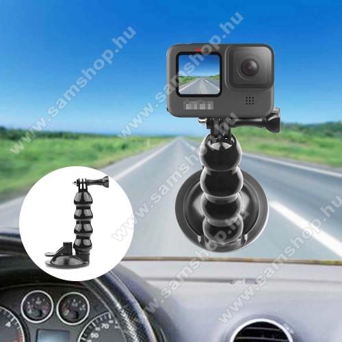 GoPro Hero 9-hez gépkocsi / autós tartó - tapadókorongos szélvédőre helyezhető, 360°-ban forgatható - FEKETE