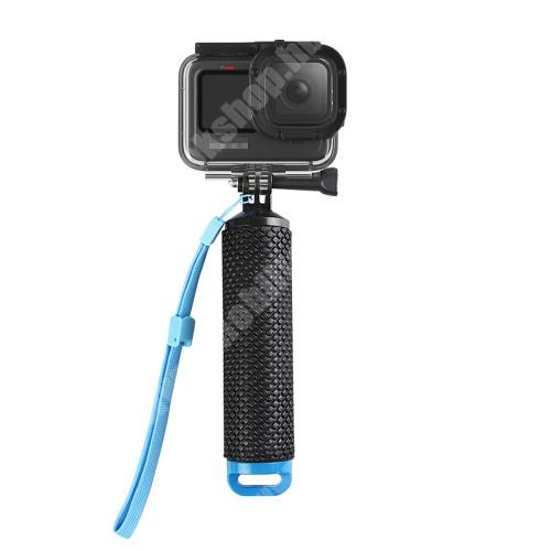 ZTE Blade A520 GoPro Hero 9-hez selfie bot / vízhatlan / vízálló tok - állítható csuklópánt, rejtett tároló, 180 x 40mm - FEKETE / KÉK