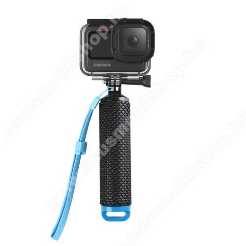 GoPro Hero 9-hez selfie bot / vízhatlan / vízálló tok - állítható csuklópánt, rejtett tároló, 180 x 40mm - FEKETE / KÉK