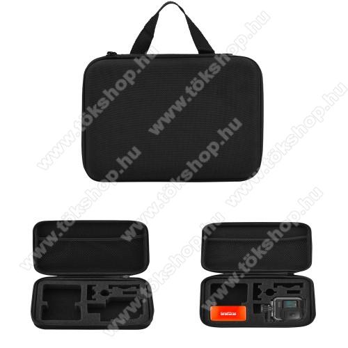 GoPro Hero 9 tartó / hordozó táska - ütődésálló, cipzáros hálós zseb,  220 x 170 x 68mm - ERŐS VÉDELEM! - FEKETE