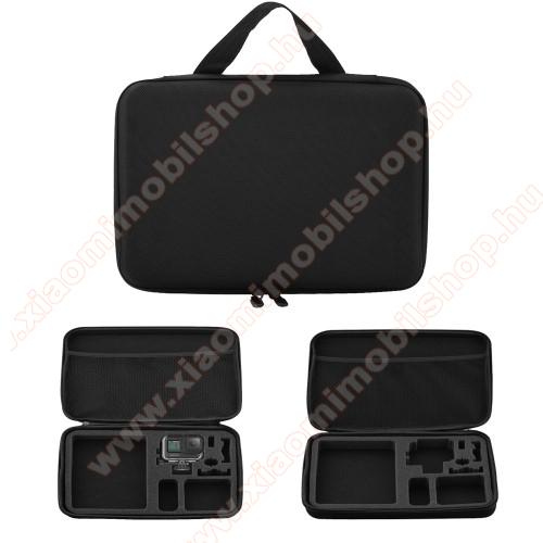 GoPro Hero 9 tartó / hordozó táska - ütődésálló, cipzáros hálós zseb,  320 x 225 x 60mm - ERŐS VÉDELEM! - FEKETE