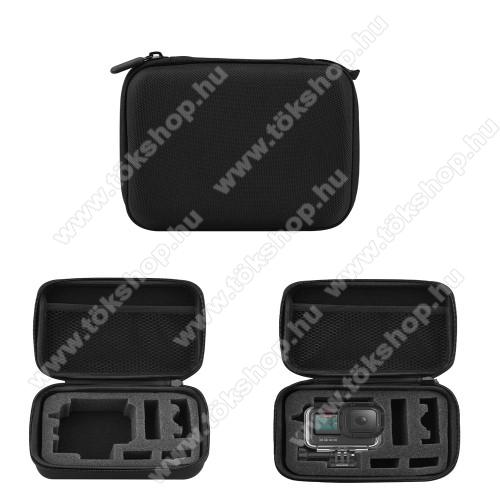 GoPro Hero 9 tartó / hordozó táska - ütődésálló, cipzáros hálós zseb, 175 x 125 x 65 mm - ERŐS VÉDELEM! - FEKETE