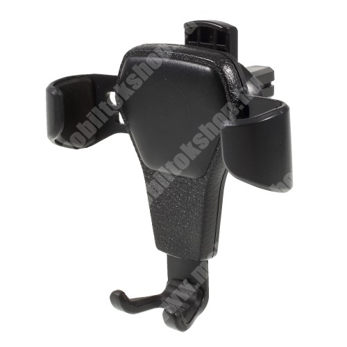 SAMSUNG SGH-J610 Gravity UNIVERZÁLIS autós / gépkocsi tartó - szellőzőrácsra rögzíthető, bőrrel bevont - FEKETE