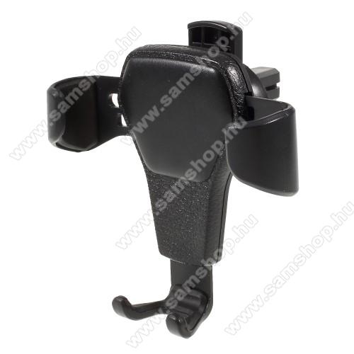 SAMSUNG SGH-i620Gravity UNIVERZÁLIS autós / gépkocsi tartó - szellőzőrácsra rögzíthető, bőrrel bevont - FEKETE