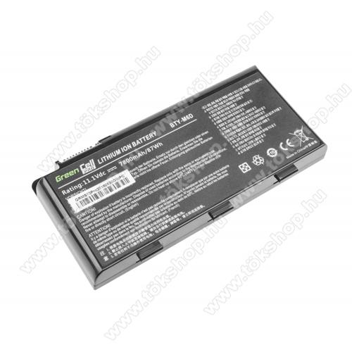 GREEN CELL akku 11.1V (10.8V) / 6600mAh Li-Ion, MSI GT60 GT70 GT660 GT680 GT683 GT780 GT783 GX660 GX680 GX780 - MS10PRO - BTY-M6D