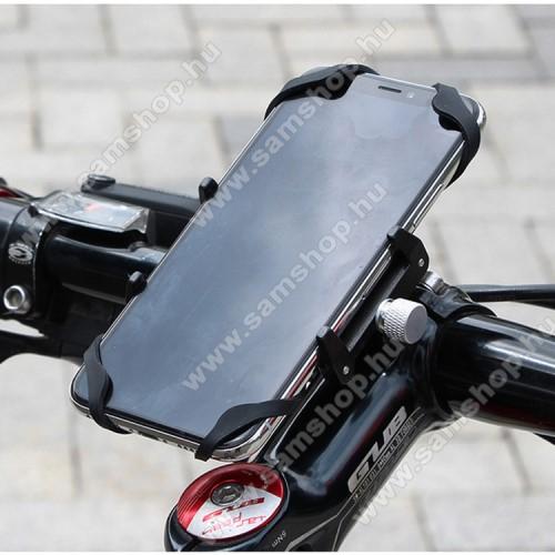 SAMSUNG GT-S5200GUB G85 SL UNIVERZÁLIS biciklis / kerékpáros tartó konzol mobiltelefon készülékekhez - FEKETE - alumínium, elforgatható, szilikon heveder, 22,2-31,8 mm átmérőjű kormányra alkalmas, 55-100mm-ig állítható bölcső - 4-6,7