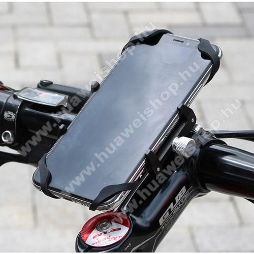 GUB G85 SL UNIVERZÁLIS biciklis / kerékpáros tartó konzol mobiltelefon készülékekhez - FEKETE - alumínium, elforgatható, szilikon heveder, 22,2-31,8 mm átmérőjű kormányra alkalmas, 55-100mm-ig állítható bölcső - 4-6,7