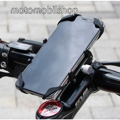 """MOTOROLA W490 GUB G85 SL UNIVERZÁLIS biciklis / kerékpáros tartó konzol mobiltelefon készülékekhez - FEKETE - alumínium, elforgatható, szilikon heveder, 22,2-31,8 mm átmérőjű kormányra alkalmas, 55-100mm-ig állítható bölcső - 4-6,7""""-os készülékekhez"""