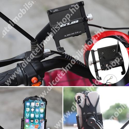 ALCATEL OT-208 GUB G-91 UNIVERZÁLIS motoros tartó konzol mobiltelefon készülékekhez - FEKETE - alumínium, 360°-ban forgatható, vízálló USB töltő aljzat, 5V/2.4A, 185cm hosszú beépítő kábel, 55-100mm-ig állítható bölcső