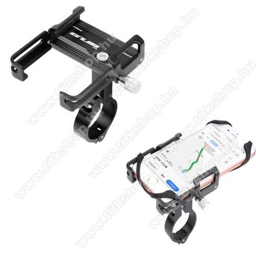 GUB P10 UNIVERZÁLIS biciklis / kerékpáros tartó konzol mobiltelefon készülékekhez - FEKETE - alumínium, elforgatható, szilikon heveder, 21-31,8 mm átmérőjű kormányra alkalmas, 55-100mm-ig állítható bölcső - 4-6,7