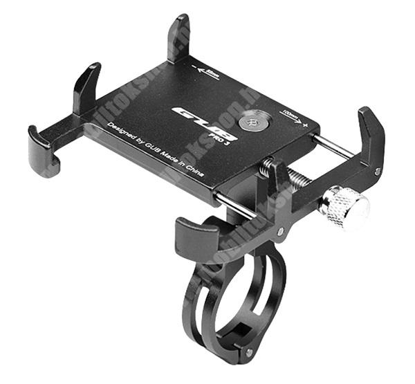 """Elephone P9 Water GUB PRO3 UNIVERZÁLIS biciklis / kerékpáros tartó konzol mobiltelefon készülékekhez - FEKETE - alumínium, elforgatható, 22,2-31,8 mm átmérőjű kormányra alkalmas, 55-100mm-ig állítható bölcső - 3,5-6,2""""-os készülékekhez"""