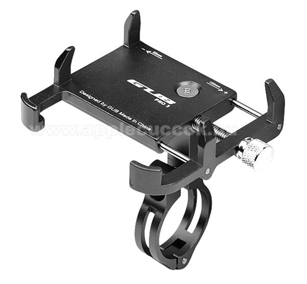 GUB PRO3 UNIVERZÁLIS biciklis / kerékpáros tartó konzol mobiltelefon készülékekhez - FEKETE - alumínium, elforgatható, 22,2-31,8 mm átmérőjű kormányra alkalmas, 55-100mm-ig állítható bölcső - 3,5-6,2