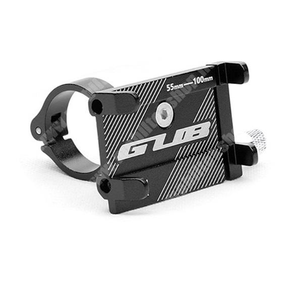 """Elephone P9 Water GUB UNIVERZÁLIS biciklis / kerékpáros tartó konzol mobiltelefon készülékekhez - FEKETE - alumínium, elforgatható, 22,2-31,8 mm átmérőjű kormányra alkalmas, 55-100mm-ig állítható bölcső - 3-6,8""""-os készülékekhez"""