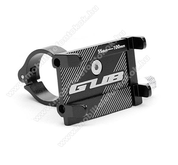 GUB UNIVERZÁLIS biciklis / kerékpáros tartó konzol mobiltelefon készülékekhez - FEKETE - alumínium, elforgatható, 22,2-31,8 mm átmérőjű kormányra alkalmas, 55-100mm-ig állítható bölcső - 3-6,8